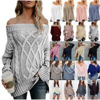Women Oversized Sweatshirt Knitted Baggy Sweater Jumper Long Sleeve Knit Tops US