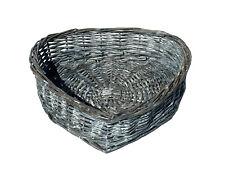 Heart Shape White Washed Wicker Easter Wedding Xmas Hamper Storage Gift Basket Grey Set of 4 Small