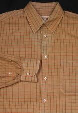 * BORRELLI * Napoli Vintage Brown/Orange Check Cotton Dress Shirt (40) 15 3/4