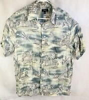 Croft & Barrow Hawaiian Aloha Shirt Large Palm Island Scene Flowers Hut