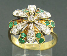 Vintage 18k Solid Two Tone Gold Quality Emerald and Diamond Layered Petal Ring