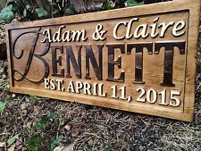 Personalized Wedding Gift Family Last Name Sign Custom Wood Couple Anniversary