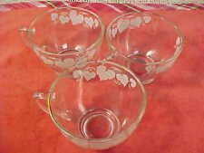 Lot of 18 Anchor Hocking Punch Cups White Grape Leaves Gold Enhanced Rims