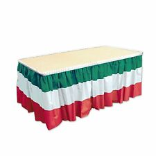 """Fiesta MEXICAN Plastic TABLE SKIRTING Red White Green Party Decoration 168"""" long"""