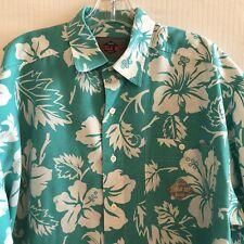 Bugle Boy Hawaiian Aloha Friday Shirt Mens Large Aqua Blue Hibiscus Button Up