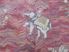 Zoffany Curtain Fabric 'JAIPUR' 2 METRES Red 100% Linen - Indian Elephants