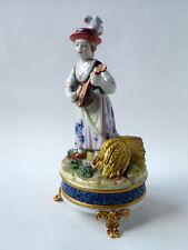 Porcelain peasant girl playing the mandoline, Sevres porcelain