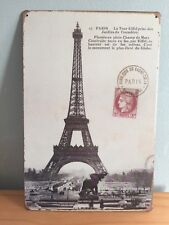 VINTAGE STYLE METAL WALL BAR SIGN EIFFEL TOWEL PICTURE