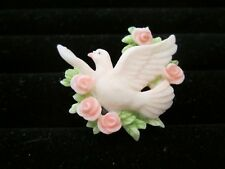 Seraphim Classics Signed 1998 Roman Inc. Flying Dove Floral Roses Brooch Pin
