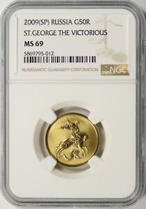 2009 (SP) Russia Gold 50 Roubles NGC MS69 St. George The Victorious