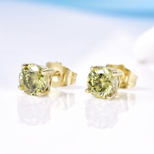 Vintage Women Green Peridot Crystal 14K Gold Filled Small Round Stud Earrings