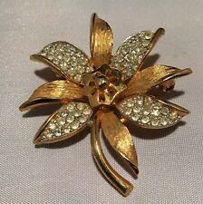 Beautiful Gold Plated Signed Coro Silver Blue Diamanté Brooch