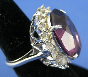 Fashion Cocktail Ring Stainless Band Oval Amethyst and Clear Crystals Size 5.5