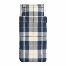 NEW Ikea KUSTRUTA Twin Duvet Cover SET Blue Plaid Check Cotton Classic 60258469