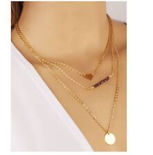 New Arrival Fashion Gold Crystal Sequins Multilayer Layered Short Necklace P19