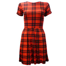 Ladies Cap Sleeves Round Neck Womens Tartan Flared Doll Large Skater Dress Top