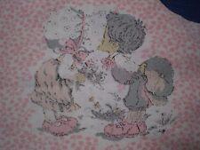 Vintage Small KISSING HOLLY HOBBIE /SARAH KAY Fabric Panel #2  (14cm x 14cm)