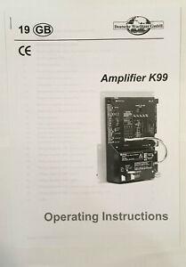 JUKEBOX MANUAL WURLITZER AMPLIFIER K99 OPERATING INSTRUCTIONS