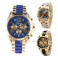 Fashion Geneva Fashion Women Men Stainless Steel Roman Quartz Analog Wrist Watch