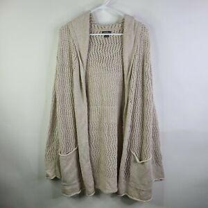 Eddie Bauer Beige Open Front Long Cardigan Pockets Hooded Cotton Sweater Size L