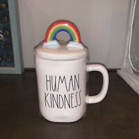 "New RAE DUNN LL ""HUMAN KINDNESS"" Mug With Rainbow Topper By Magenta"