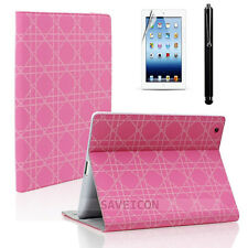 The iPad 2 3 4 Smart Cover Folio Leather Case Stand Film + Stylus Pink Chain
