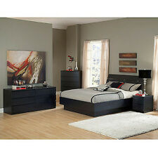 Black 4 Piece Queen Platform Bed Furniture Set Home Bedroom Furniture Headboard