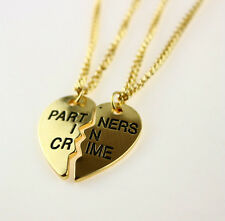 TWO Quality Gold Heart Partners in Crime Best Friends BFF Necklace - SHIPS FAST!