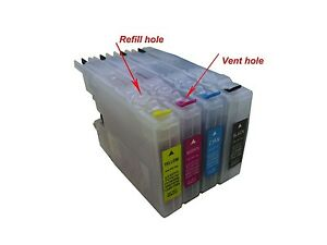 4 Refillable ink cartridge for Brother LC71 LC75 LC79 MFC-J6910DW J825DW J4300