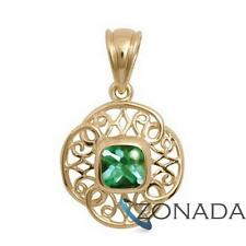 Bufftop Emerald 9ct 9k Solid Yellow Gold Pendant 64586/glgbf