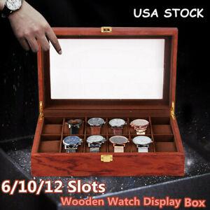 Wood Watch Box Glass Top Vintage Display Jewelry Storage Organizer 6/10/12 Slot