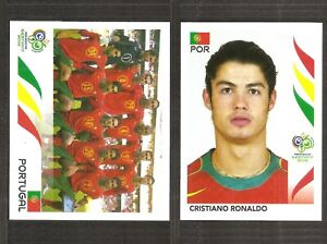 Cristiano Ronaldo 2006 Panini World Cup ROOKIE STICKER  #298 + 293 Team RARE