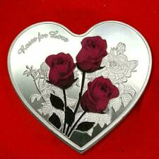 Love Heart Rose Metal Commemorative Coin Valentines For Lover Birthday Her LZ