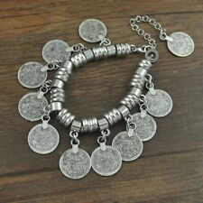 Boho Style Turkish Silver Coin Bracelet Jewellery Festival Tribal Ethnic Anklet