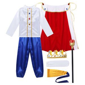 Knight Costume Kids Medieval King Halloween Fancy Dress 7PCS Kids Boys Outfit