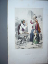 GRAVURE 1880  NAVARRE  COSTUME  LITHOGRAPHIE COULEURS