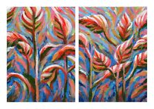 "Original acrylic paintings, set of 2 autumn art,  5x7"" (small), ready to hang"