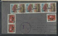 ZIMBABWE COVER (PP1003BB)  1982 GEMSTONE 4CX3+TREE 5CX3 TAXED COVER TO USA
