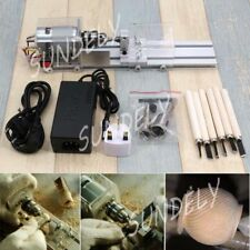24V 80W Mini Lathe Beads Machine DIY Polisher Table Saw Woodworking Sanding Tool