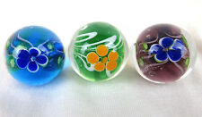 3 PAEONY Flower 22mm Handmade art glass Green blue Marbles ball Large Shooter
