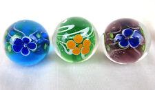 3 PEONY Flower 22mm Handmade art glass Green blue Marbles ball Large Shooter