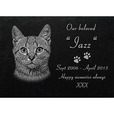 """PERSONALISED PET MEMORIAL Slate stone Photoengraving  Size 8"""" x  6"""" - Cat -019"""