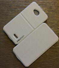 custodia cover case flip fs magnetica per LG L70 L 70 D320 bianco eco pelle