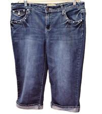 Earl Jean Womens 12 Embellished Denim Capris Cotton Stretch Rhinestones Cuffs