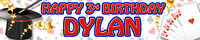 2 X MAGIC MAGICIAN PERSONALISED BIRTHDAY BANNERS