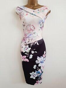 NEW LIPSY 8 10  Pink Black Floral Print Pencil Bodycon Dress Wedding Occasion