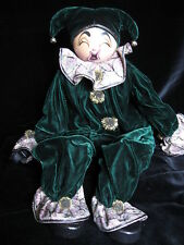 Reuge Xenis Collection Hand Painted Musical Pierrot Style Doll Cowan '96 Velvet