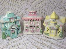Shabby Christmas Cottage Chic Village Small Victorian Church School Lot 3 #