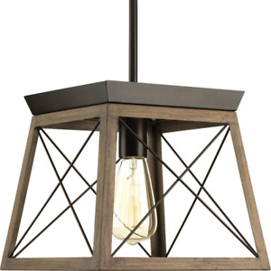 Pendant Light Briarwood 1-Light Painted Wood Open Cage Antique Bronze 10 in.