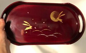 """Unique Lacquered Tray - Japan - Flying Rabbits with the Moon - Long Oval 14"""""""